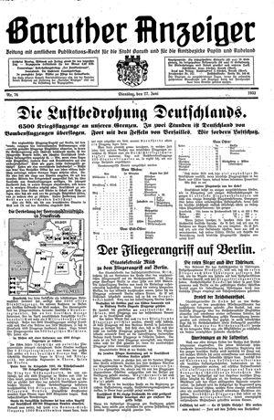 Baruther Anzeiger vom 27.06.1933