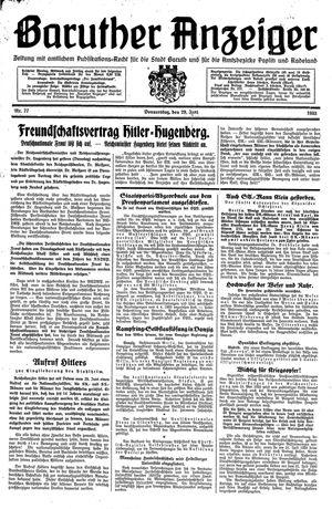 Baruther Anzeiger vom 29.06.1933