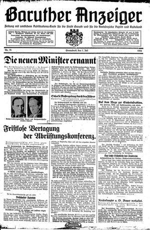 Baruther Anzeiger vom 01.07.1933