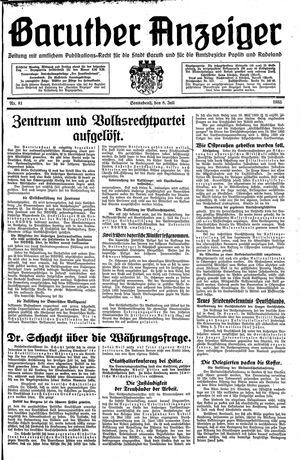 Baruther Anzeiger vom 08.07.1933