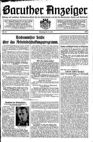 Baruther Anzeiger vom 11.07.1933