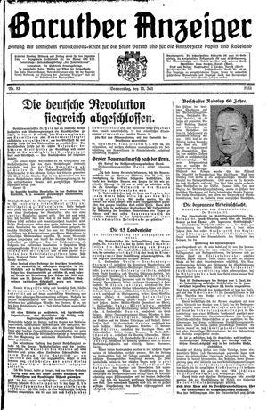 Baruther Anzeiger vom 13.07.1933