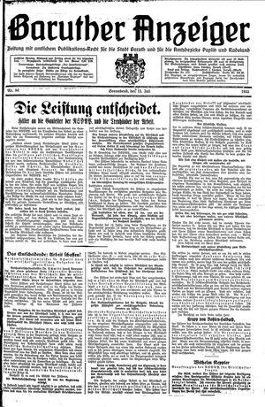Baruther Anzeiger vom 15.07.1933