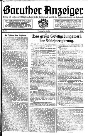 Baruther Anzeiger vom 18.07.1933