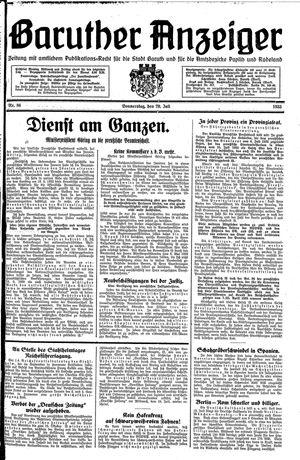 Baruther Anzeiger vom 20.07.1933