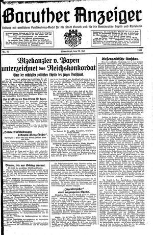 Baruther Anzeiger vom 22.07.1933