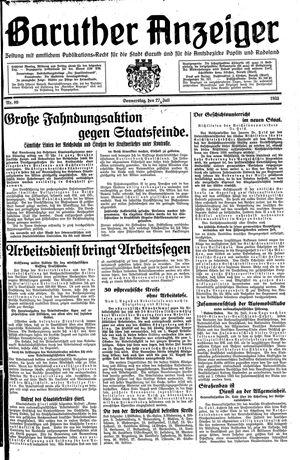 Baruther Anzeiger vom 27.07.1933