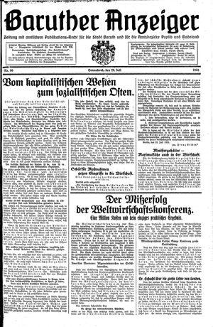 Baruther Anzeiger vom 29.07.1933