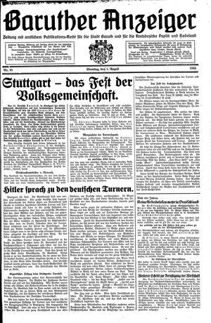 Baruther Anzeiger vom 01.08.1933