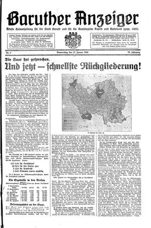 Baruther Anzeiger vom 17.01.1935