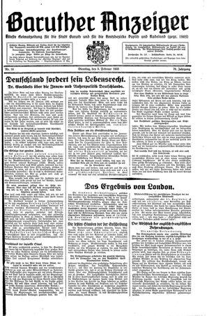 Baruther Anzeiger vom 05.02.1935