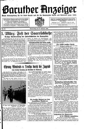 Baruther Anzeiger vom 21.02.1935