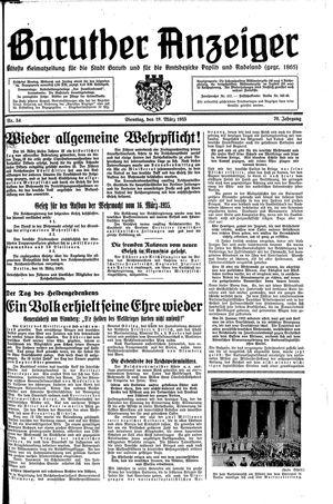 Baruther Anzeiger vom 19.03.1935