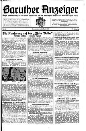 Baruther Anzeiger vom 13.04.1935