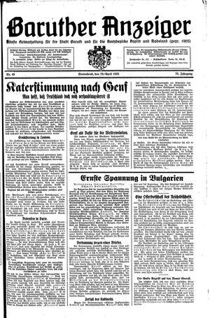 Baruther Anzeiger vom 20.04.1935
