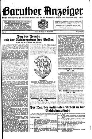 Baruther Anzeiger vom 27.04.1935