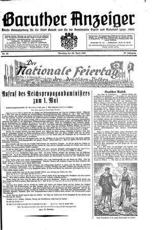 Baruther Anzeiger vom 30.04.1935