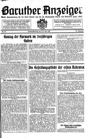 Baruther Anzeiger vom 03.06.1935