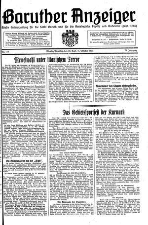 Baruther Anzeiger vom 30.09.1935