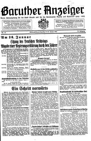 Baruther Anzeiger vom 27.01.1937