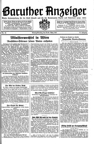Baruther Anzeiger vom 22.03.1937