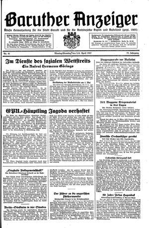 Baruther Anzeiger vom 05.04.1937