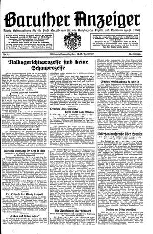 Baruther Anzeiger vom 14.04.1937