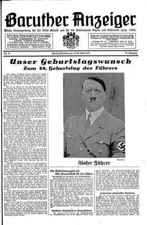 Baruther Anzeiger vom 19.04.1937