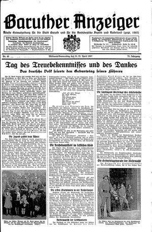 Baruther Anzeiger vom 21.04.1937