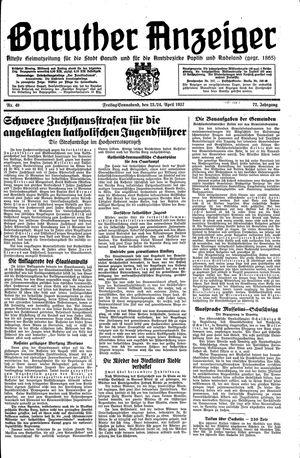 Baruther Anzeiger vom 23.04.1937