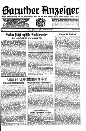 Baruther Anzeiger vom 28.04.1937