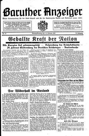 Baruther Anzeiger vom 07.02.1938