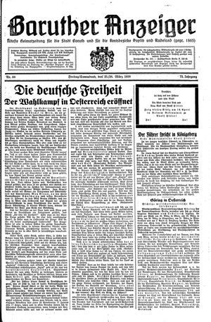 Baruther Anzeiger vom 25.03.1938