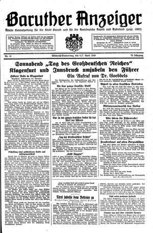 Baruther Anzeiger vom 06.04.1938