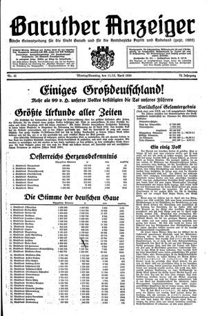 Baruther Anzeiger vom 11.04.1938