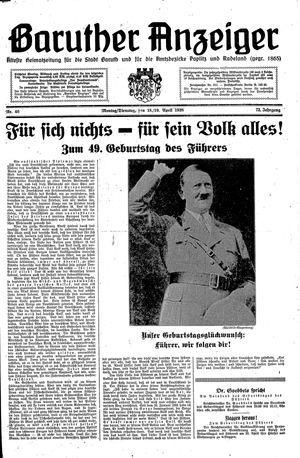 Baruther Anzeiger vom 18.04.1938