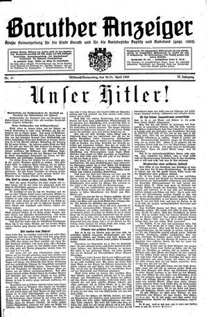 Baruther Anzeiger vom 20.04.1938