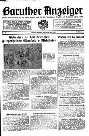 Baruther Anzeiger vom 22.04.1938