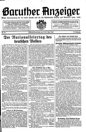 Baruther Anzeiger vom 27.04.1938