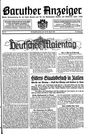 Baruther Anzeiger vom 29.04.1938