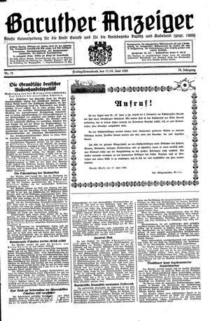 Baruther Anzeiger vom 17.06.1938