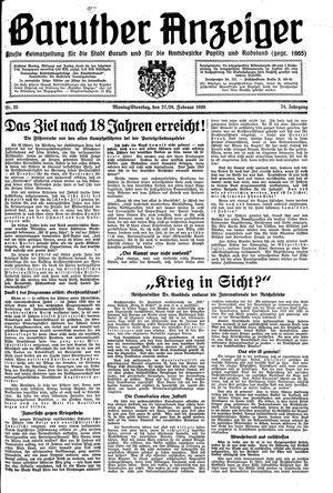 Baruther Anzeiger vom 27.02.1939