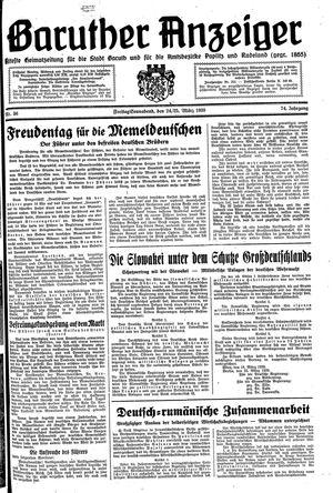 Baruther Anzeiger vom 24.03.1939