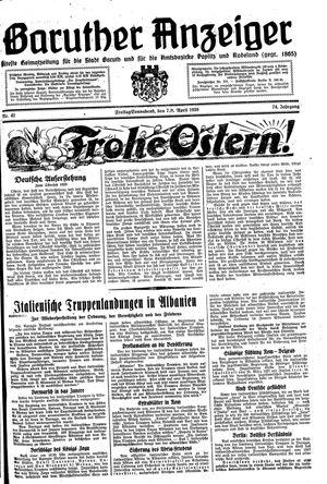 Baruther Anzeiger vom 07.04.1939