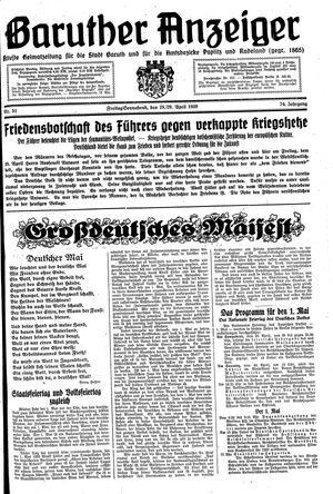 Baruther Anzeiger vom 28.04.1939
