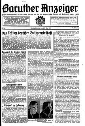 Baruther Anzeiger vom 01.05.1939