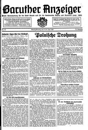 Baruther Anzeiger vom 12.06.1939
