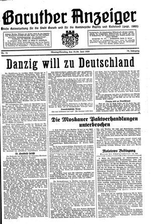 Baruther Anzeiger vom 19.06.1939
