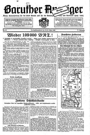 Baruther Anzeiger vom 13.03.1942
