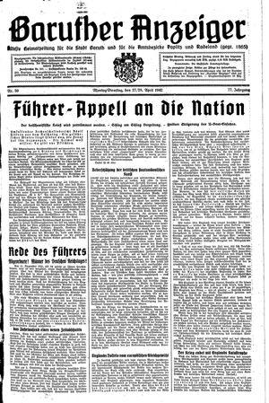 Baruther Anzeiger vom 27.04.1942